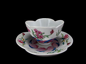 Early 18th C. Yongzheng Famille Rose Bowl and Saucer