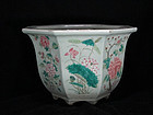HUGE GORGEOUS 19TH C. FAMILLE ROSE JARDINIERE