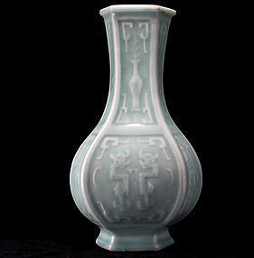 Late Qing 19th c. Celadon Vase w/ Molded Kuilong Relief