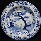 18th C YONGZHENG BLUE & WHITE DEER PLATE