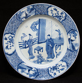 18TH C KANGXI B&W PLATE, ROMANCE OF WESTERN CHAMBER