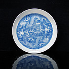 19TH C DAOGUANG BLUE AND WHITE DRAGON DISH, MARKED