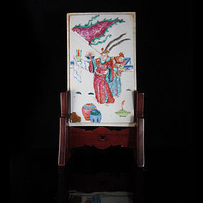 19TH TONGZHI GUANGXU FAMILLE ROSE PLAQUE TABLE SCREEN