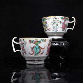 19TH C TONGZHI WUSHUANGPU FAMILLE ROSE PORCELAIN CUPS