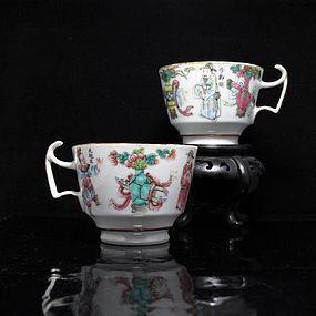 19TH C TONGZHI WUSHUANGPU FAMILLE ROSE PORCELAIN CUPS