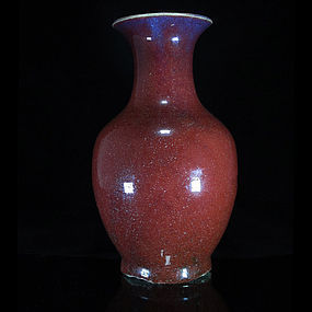 19TH C QING FLAMBE GLAZED MONOCHROME RED BALUSTER VASE