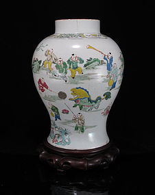 19TH C GUANGXU FAMILLE ROSE BOYS AT PLAY BALUSTER VASE