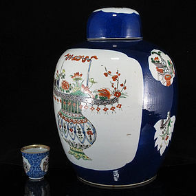 19TH C GUANGXU FAMILLE VERTE POWDER BLUE LARGE JAR