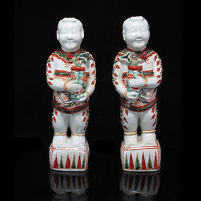 19TH/EARLY 20TH C WUCAI FIGURES OF HEHE ERXIAN