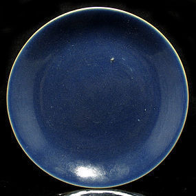 JIAQING MARK AND PERIOD MONOCHROME BLUE DISH