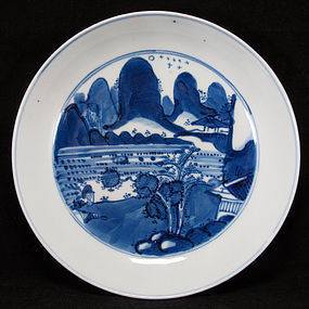 18TH C KANGXI BLUE AND WHITE LANDSCAPE PORCELAIN DISH
