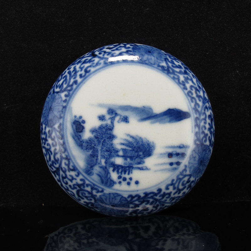 19TH C KANGXI MARK BLUE & WHITE LANDSCAPE INK PASTE BOX