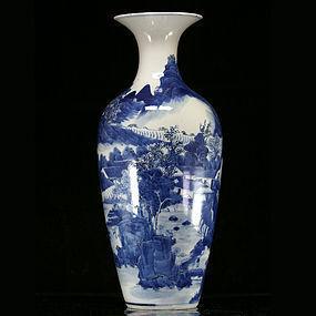 19TH C GUANGXU BLUE AND WHITE LANDSCAPE VASE