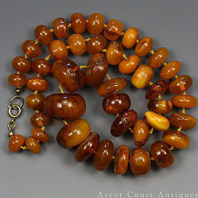 1920s EGG YOLK BUTTERSCOTCH BALTIC AMBER NECKLACE