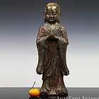 16TH C MING LACQUERED IRON STANDING FIGURE OF ANANDA