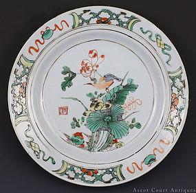 18TH C KANGXI WUCAI FAMILLE VERTE BIRD & FLOWER PLATE