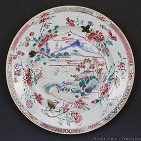 18th C Yongzheng Qianlong Famille Rose Landscape Plate