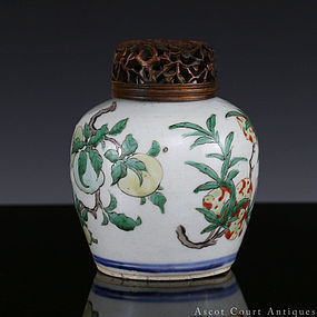 17th C Shunzhi Transitional Period Wucai Sanduo Jar