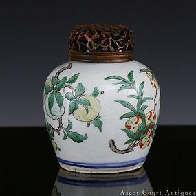 17th C Shunzhi Transitional Period Wucai Sanduo Jar