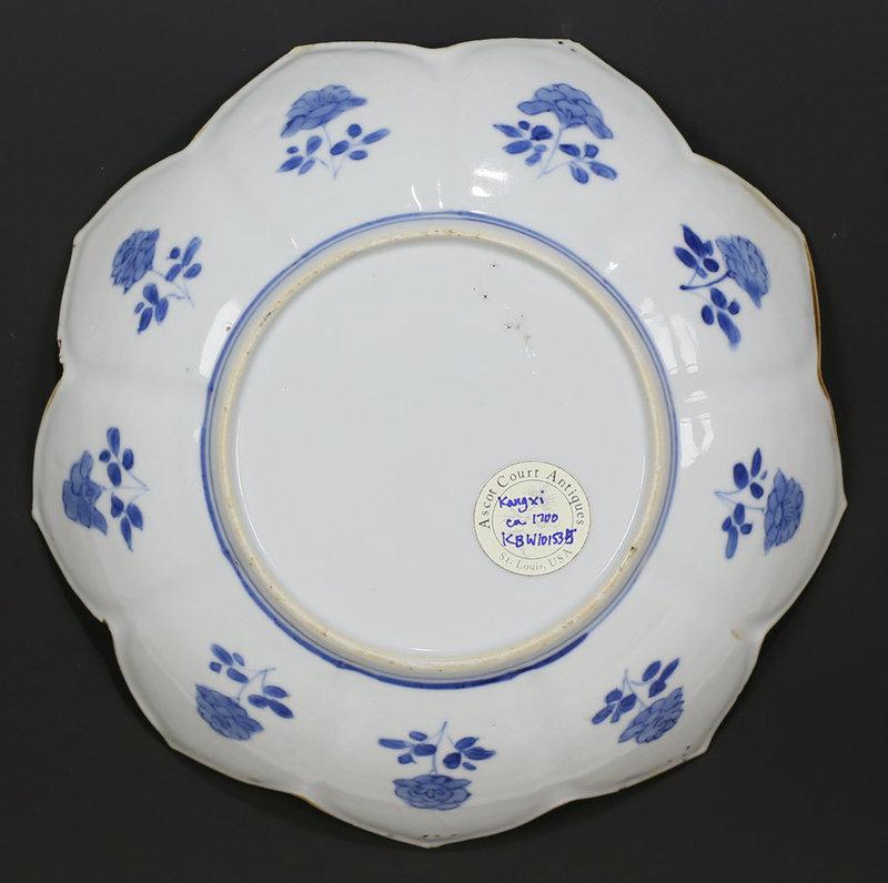 18TH C KANGXI BLUE AND WHITE LOTUS FORM PORCELAIN DISH PLATE n.1