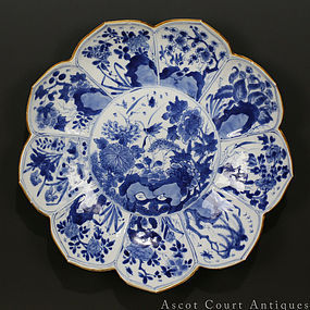 18TH C KANGXI BLUE AND WHITE LOTUS FORM PORCELAIN DISH PLATE n.2