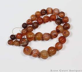 233g ANTIQUE CHINESE TIBETAN NEPALESE MELON FORM RED CARNELIAN BEADS