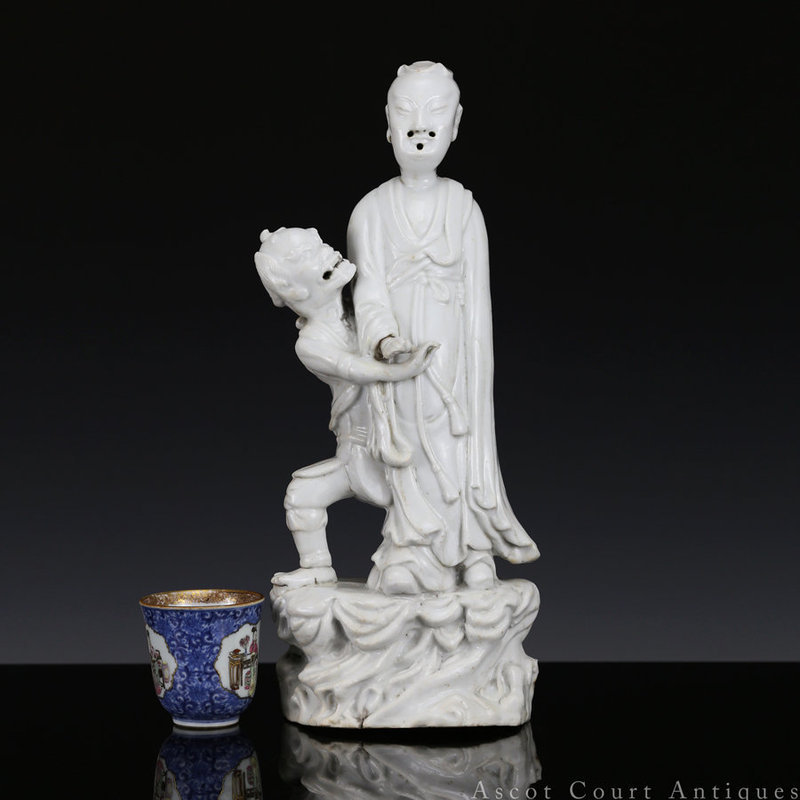 18TH C DEHUA BLANC DE CHINE FIGURE OF WENCHANG AND KUIXING