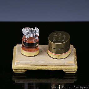 19TH C QING SCHOLAR CRYSTAL SEAL & PASTE BOX
