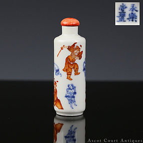 19TH C QING BLUE AND WHITE IRON RED ZHONG KUI SNUFF BOTTLE