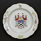 CHINESE EXPORT PORCELAIN 18TH C QIANLONG FAMILLE ROSE ARMORIAL PLATE