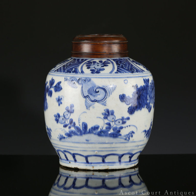 16th c LATE MING WANLI BLUE AND WHITE PORCELAIN JAR AND LID