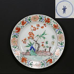 18TH C KANGXI FAMILLE VERTE KAKIEMON INSPIRED PORCELAIN PLATE