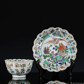 18TH C KANGXI FAMILLE VERTE FLORAL BOWL AND SAUCER DISH