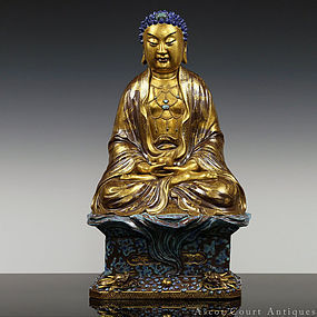 19TH C - REPUBLIC ENAMEL AND GILT DECORATED FIGURE OF BUDDHA