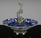 18TH C KANGXI BLUE AND WHITE SILVER MOUNTED PLATE / CAKE STAND
