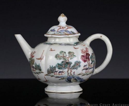 18TH C QIANLONG ENAMELED LANDSCAPE EXPORT PORCELAIN TEAPOT