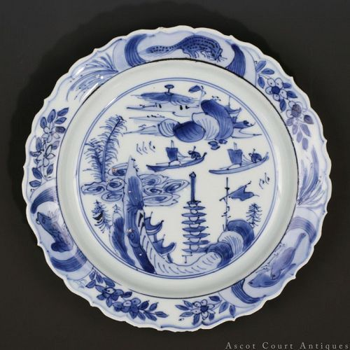 16TH C MING WANLI BLUE AND WHITE LANDSCAPE KRAAK-TYPE PORCELAIN