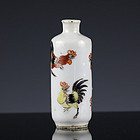 c. 1900 Late Qing Republic Rooster Famille Rose Porcelain Snuff Bottle