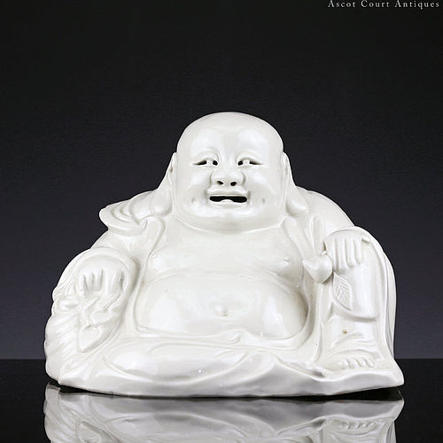 Large c. 1900 Late Qing Blanc de Chine Figure of Buddha