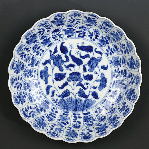 c. 1700 Kangxi Blue and White Lobed Floral Porcelain Dish