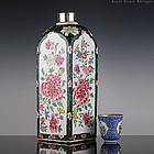 Yongzheng Famille Rose Porcelain Square Vase with Floral Panels
