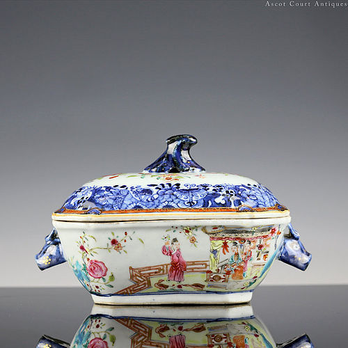 18th c Qianlong Famille Rose Export Porcelain Tureen