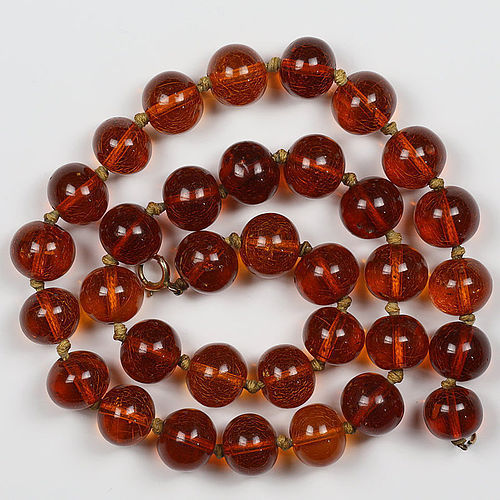 Late Qing Republic Antique Baltic Amber Bead Necklace, Chinese Market