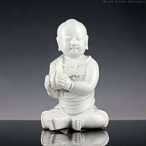18th c Qianlong Dehua Blanc de Chine Figure of a Boy