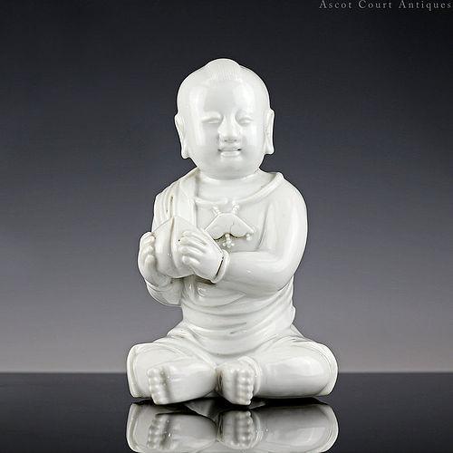 18th c Qianlong Dehua Blanc de Chine Figure of a Boy