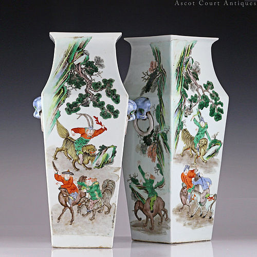 PAIR of c. 1900 Late Qing Republic Famille Verte Vases