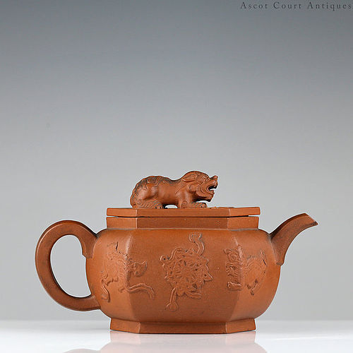 18th c Kangxi Yixing Zisha Teapot, Foo Lions Applique