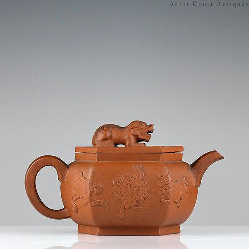 18th c Kangxi Yixing Zisha Teapot, Foo Lions Applique