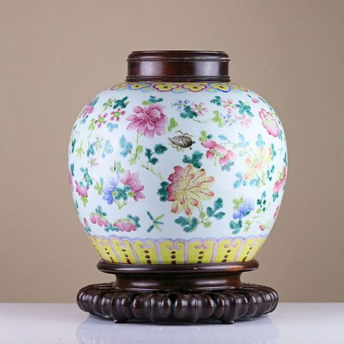 19th c Late Qing Famille Rose Ginger Jar, Hard Wood Stand & Cover