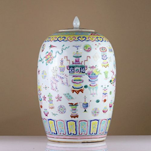 19th c Late Qing Famille Rose 'Hundred Treasures' Porcelain Ginger Jar